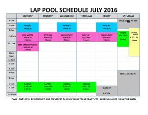 July 2016 lap pool sched