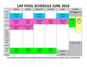 June 2016 lap pool sched