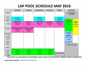 May '16 lap pool schedule