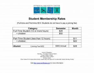 Fitness and Aquatics Center Student Rates information