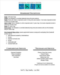Fitness and Aquatics Center Membership Descriptions
