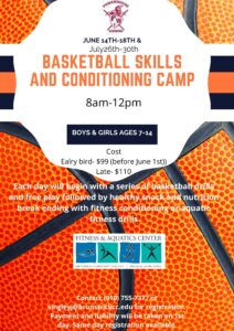 Flyer for basketball skills and conditioning camp