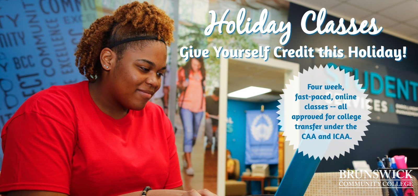 BCC student enrolling in holiday classes